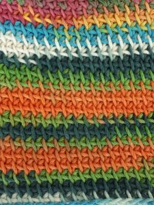 Modified Tunisian simple stitch with color-changing yarn