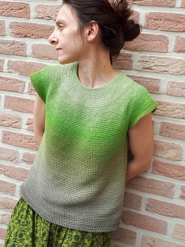 Céleste, Tunisian crochet top down, in Whirl by Scheepjes