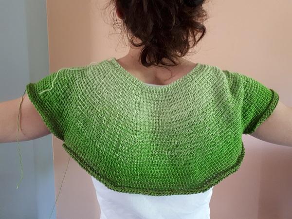 Céleste, my Tunisian crochet top down garment, in progress