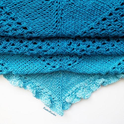 Tunisian crochet Ruffled shawl, design by KnitterKnotter