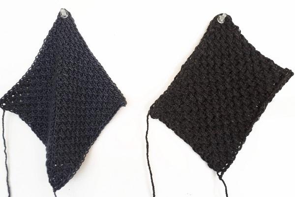 Étoffe au crochet tunisien avec du drapé ou plus de rigidité