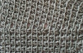 Close up photo of a sample made in thin yarn (option 1)
