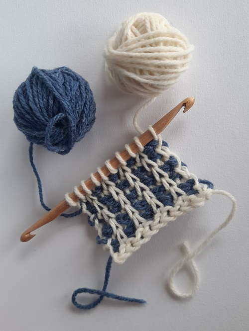Tunisian rib stitch in 2 colors worked flat